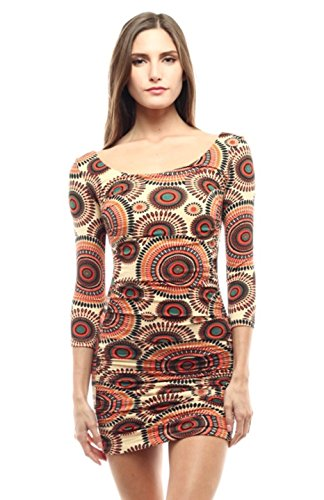 2LUV Women's 3/4 Sleeve Double Ruched Bodycon Mini Dress Brown Orange S