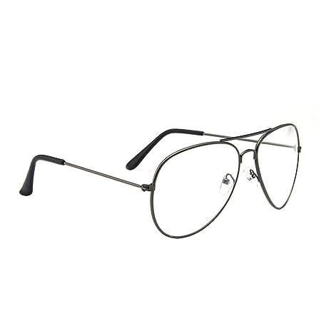 3606c6310f Women Retro Aviator Glasses Clear lens Metal Frame Vintage Eyeglasses Geek  Sunglass Eyewear Grey  Amazon.co.uk  Kitchen   Home