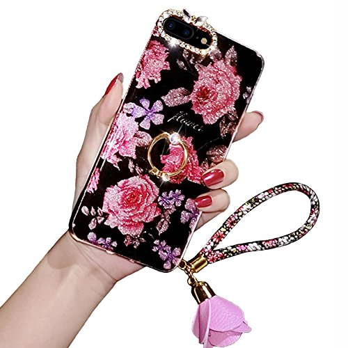 iPhone 7 Plus/8 Plus Case, [Luxury Sparkly] Rhinestone Case with Ring Stand Holder, Soundmae Pendant Bling Diamond Thin Soft Silicone Rubber Bumper Cover for iPhone 7/8 Plus 5.5