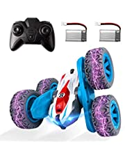 ADDSMILE Remote Control Car for Boys Girls, RC Stunt Car 4WD 2.4Ghz Double Sided 360° Rotating RC Cars High Speed Vehicle Toy with Headlights for Kids Over 4 Years Old (All Batteries Included)