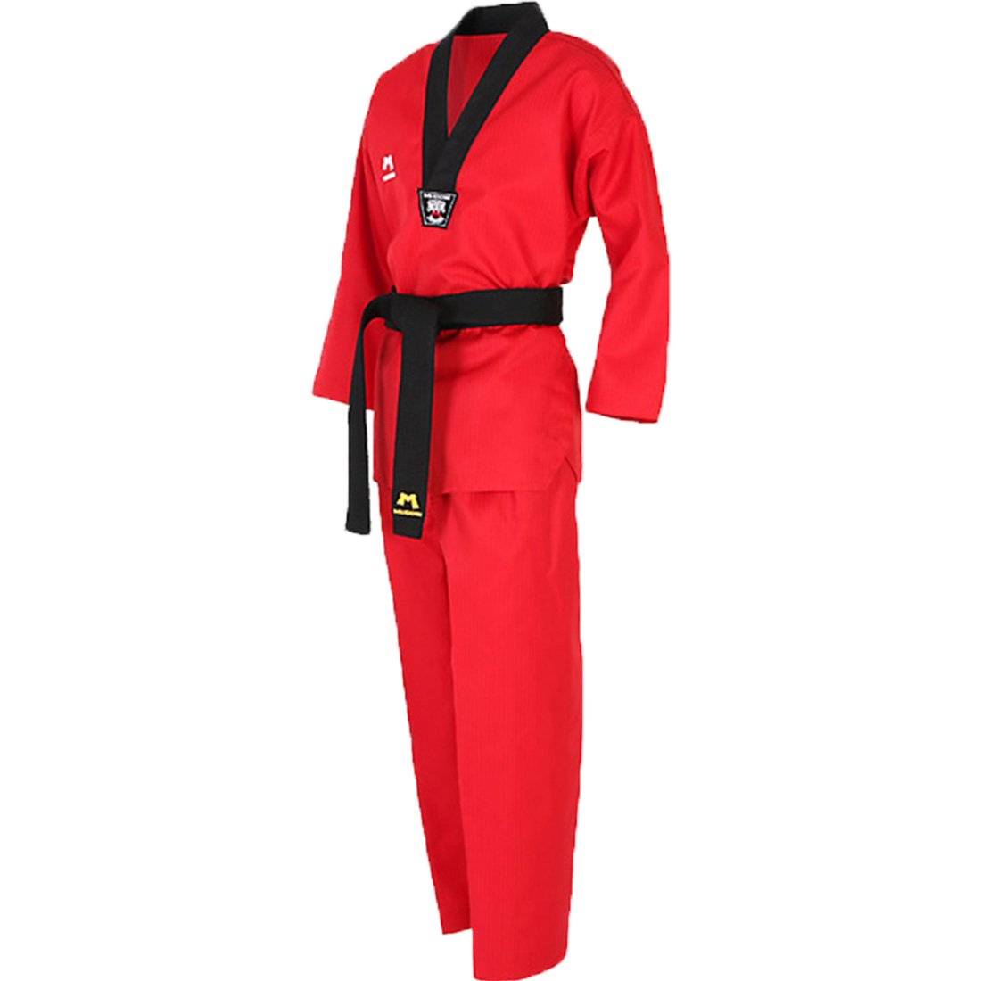 Mudoin Taekwondo 3 Color Uniform for Adults V-Neck Blue Red Black TKD Martial Arts Akido Hapkido WTF (190(180-190cm)(5.90-6.23ft), Red) by Mudoin
