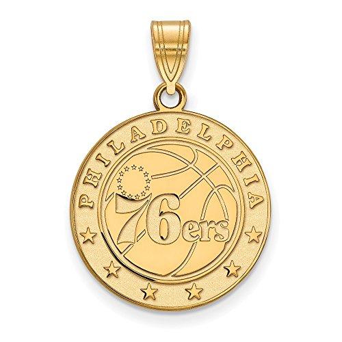 - NBA Philadelphia 76ers Large Logo Pendant in 10K Yellow Gold