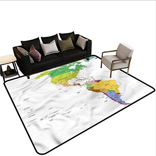 Map,Door Mat Living Room Non-Slip 64