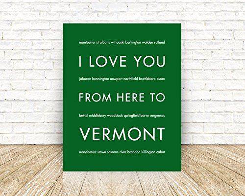 VERMONT State Travel Art Print (Burlington Dining Set)