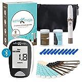 KETO-MOJO Bluetooth Blood Ketone and Glucose Testing Kit -10 Ketone & 10 Glucose Test Strips, 10 Lancets, 1 Meter, 1 Lancing Device, Monitor Your Ketogenic Diet
