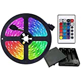 Battery Powered LED Strip Lights, 9.8ft 24-Keys Remote Controlled, DIY Indoor and Outdoor Decoration.