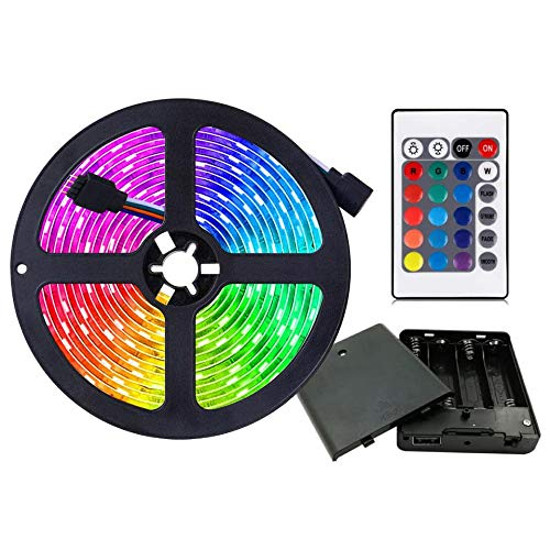 HIKENRI Battery Powered Led Strip Lights, Flexible Color Changing RGB LED Light Strip,5050 3M/9.8FT 90 LEDs 5V Battery-Powered with Controller