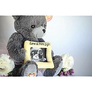 My Baby's Heartbeat Bear - Grey Gender Reveal Bear Stuffed Animal w/ 20 sec Voice Recorder Heart Sounds Bear - Gray Love Bear