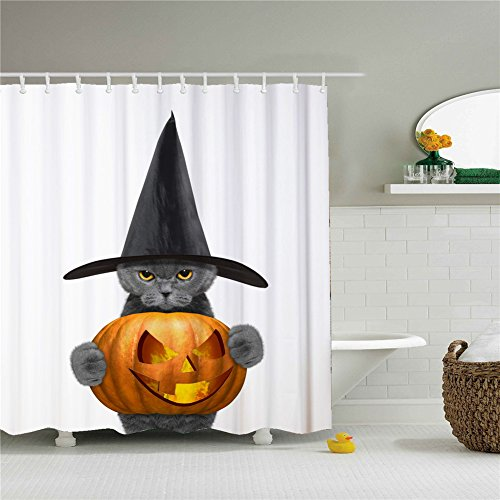 Cat Celebrating Halloween Shower Curtain,Polyester Waterproof Shower Curtain 12 Hooks Included, Bathroom Accessories, 72