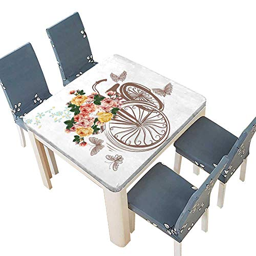 lecloth Bicycle Basket Fully Rose Flowers Butterflies Around it Ideal Invitation Design Save Easy Care Spillproof 65 x 65 INCH (Elastic Edge) ()