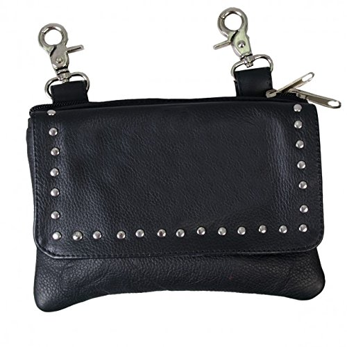 Black LADIES CLIP POUCH PURSE with Studs, Adjustable Strap with Heavy Duty Lobster Claw Clips - 8 X 5 X 1 (Over Studded Flap Fold)