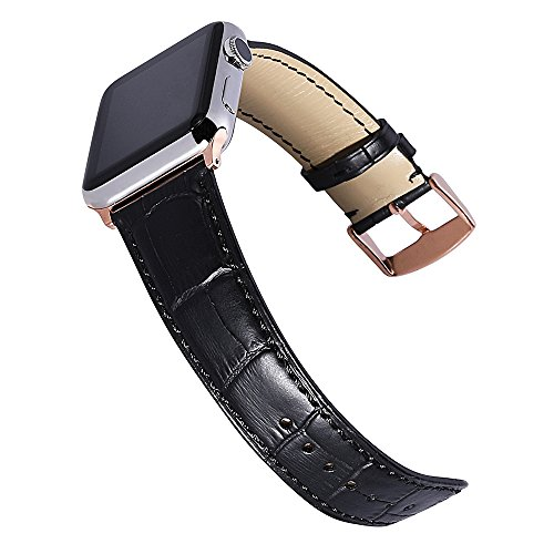 Apple Watch Band Alligator Grain Genuine Calf Leather Strap 38MM 42MM for iWatch Series 2 Series 3 Sport and Edition Watchband Stainless Metal Clasp (Black Genuine Alligator)