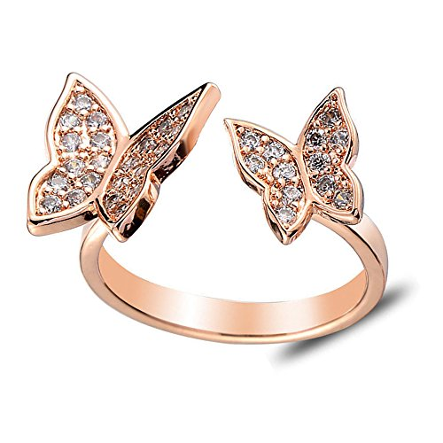 CHUYUN Unique Design Adjustable 2 Active Butterfly Crystal Wings Rose Gold Ring for Women Love Jewelry Girls Trendy Wedding Bands Fashion Party Rings (Rose Gold)
