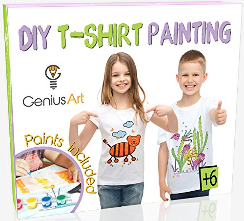 Genius Art DIY T-Shirt Painting - Girls and Boys Arts and Crafts Toys - Stocking Stuffers for - Genius T-shirt Kids