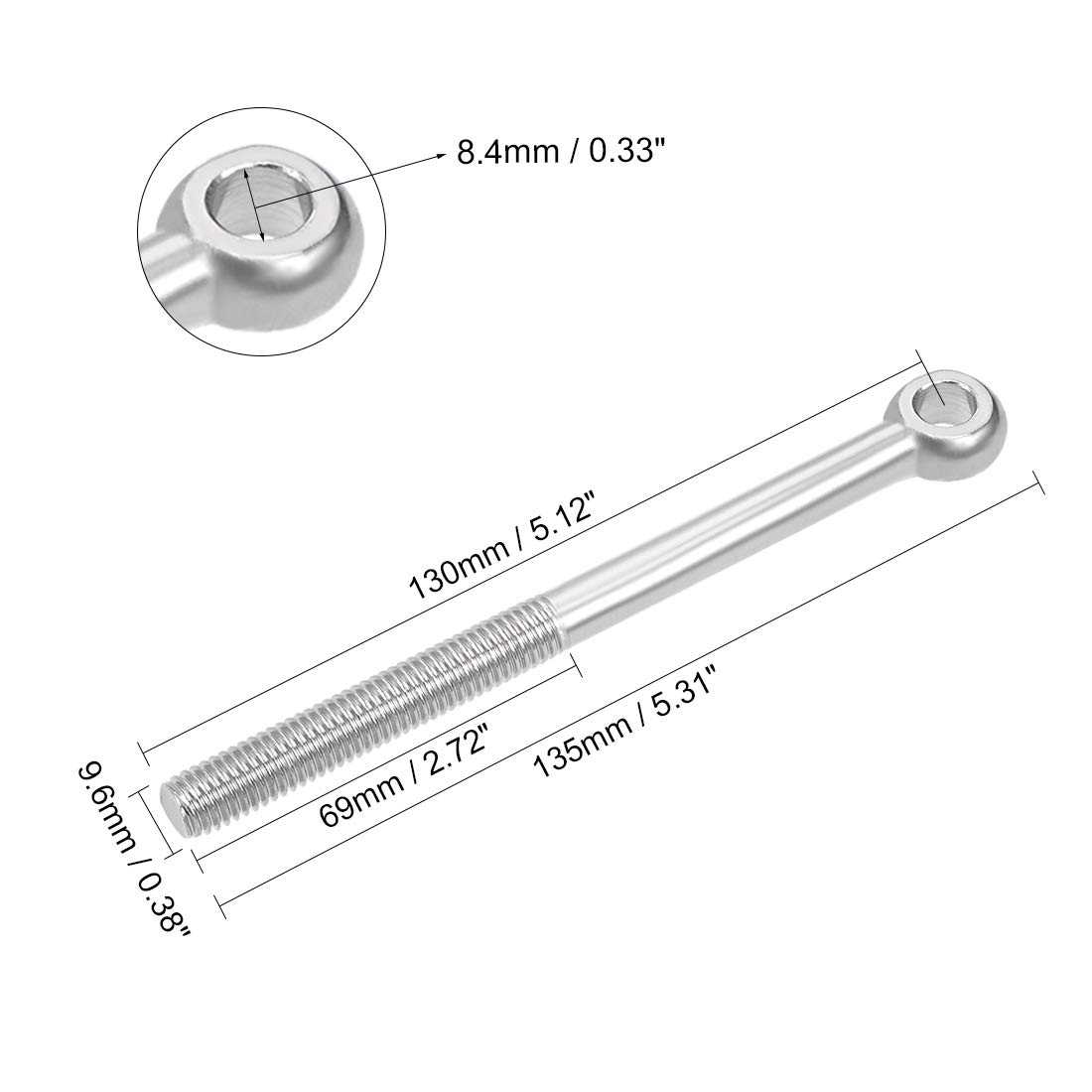 sourcing map M10 x 40mm 304 Stainless Steel Machinery Shoulder Lifting Eye Bolt Metric Thread 2pcs