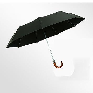 QER-Negocio de madera mango paraguas negro codo ligero paraguas plegable paraguas plegable,A