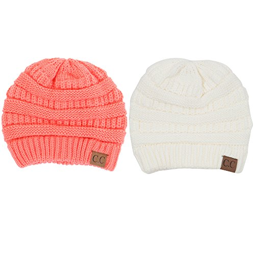 BYSUMMER C.C Warm Soft Cable Knit Skull Cap Slouchy Beanie Winter Hat,Gift Set, Coral&Ivory