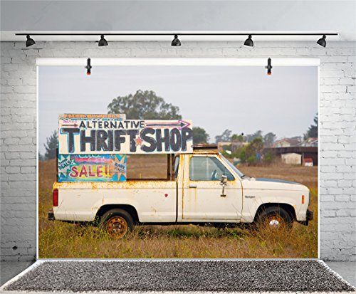 Leyiyi 6x4ft Photography Background Western Town Backdrop Old Truck Advertisement Sale Vintage Car Road Sign Thrift Shop Rural Buildings Wildfield Grassland Cowboy Photo Portrait Vinyl Studio - Advertisements Automobile Vintage