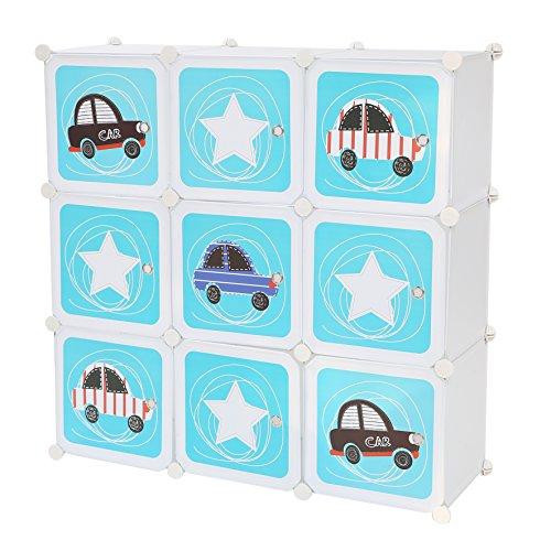 C&AHOME DIY 9 Cube Storage Organizers Closet Kids Wardrobe Bookshelf Toy Rack Portable Bookcase Cabinet with Cartoon Doors,White