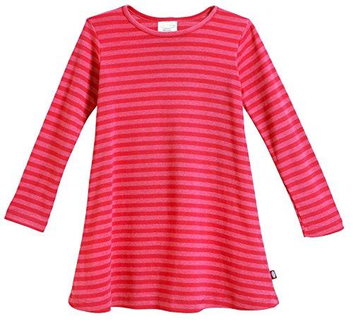 City Threads Big Girls' Cotton Long Sleeve Dress, Striped Candy Apple, 10