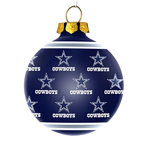 NFL Football 2015 Repeat Print Glass Ball Ornament - Pick Team (Dallas Cowboys)