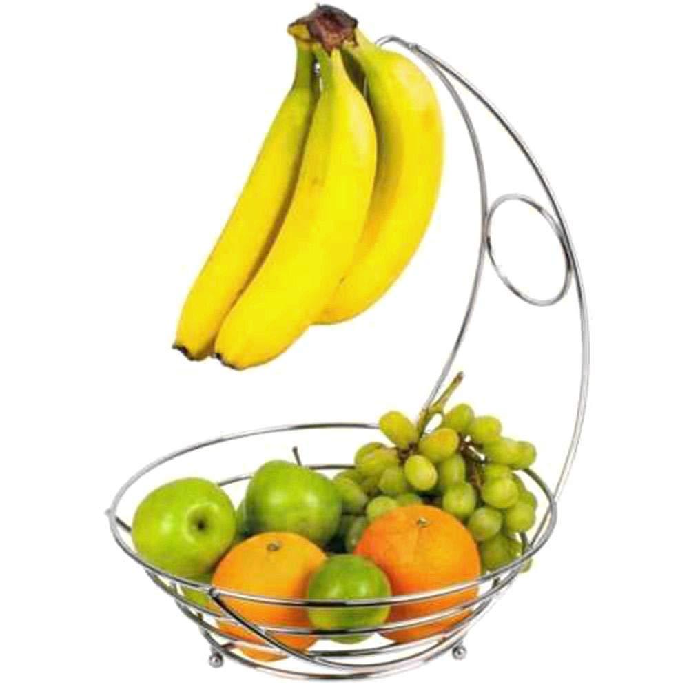 NONMON Chromed Metal Fruit Bowl Vegetables Basket with Banana Hanger OTD23101