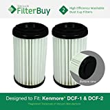 2 - Kenmore DCF-1 DCF-2 Washable & Reusable Allergen HEPA Filters, Part #s 82720, 471178 & 82912. Designed by FilterBuy to fit Kenmore Upright Vacuum Cleaners