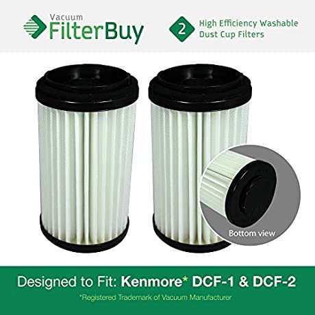 2 Kenmore DCF 1 DCF 2 Washable Reusable Allergen HEPA Filters Part S 82720 471178 82912 Designed By FilterBuy To Fit Kenmore Upright Vacuum Cleaners