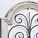 Small, Vintage Style Distressed White Wood & Metal