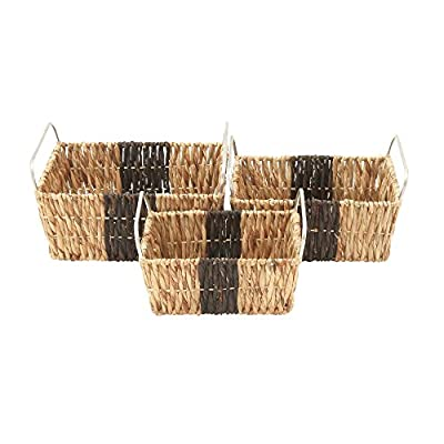 "Deco 79 41138 Sea Grass Storage Basket (Set of 3), 16""/18""/20""W - Makes a decorative piece for home and outdoor decor Measures 18. 75-Inch length by 23. 5-Inch height by 12-Inch width This product is Made in India - living-room-decor, living-room, baskets-storage - 51b0 %2BthFtL. SS400  -"