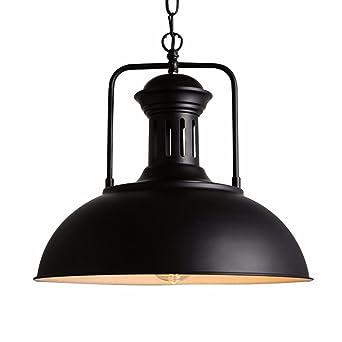 Koibless - Lámpara de techo negra de hierro forjado, lámpara ...