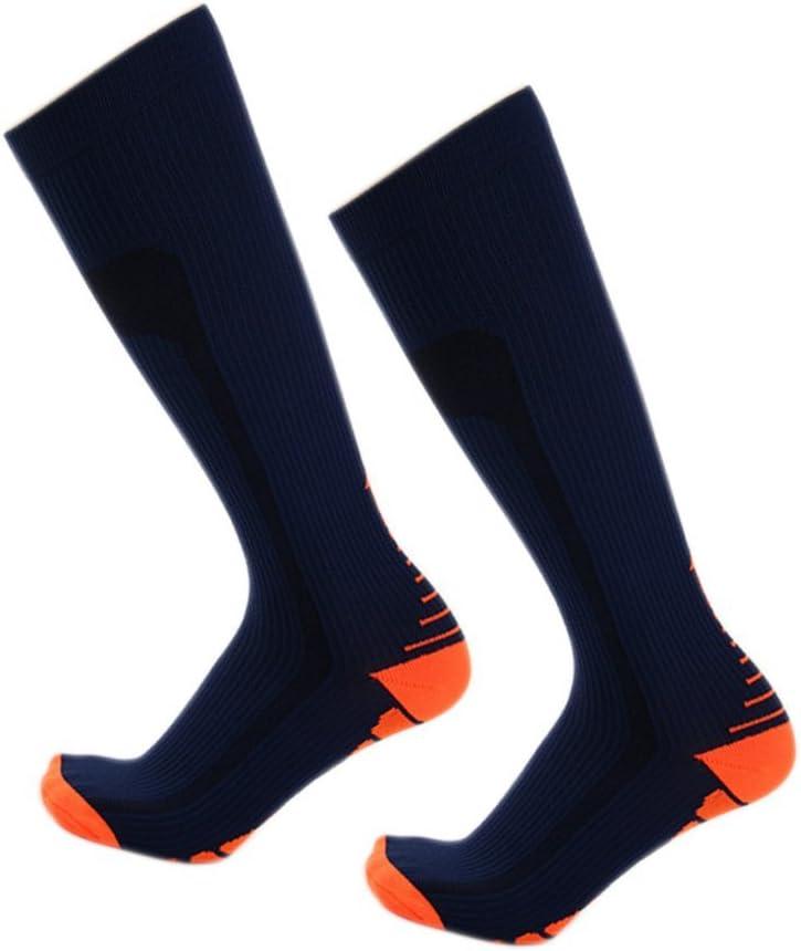 Metyere Calcetines de Compresión para Hombre Mujer Correr Fútbol Ciclismo Esquí Medias Ortopédico Apoyo - Azul Marino y Naranja, Medium