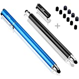 Bargains Depot (2 Pcs [New Upgraded][0.18-inch Small Tip Series] 2-in-1 Stylus/Styli 5.5-inch L with 10 Replacement Rubber Tips -Black/Blue