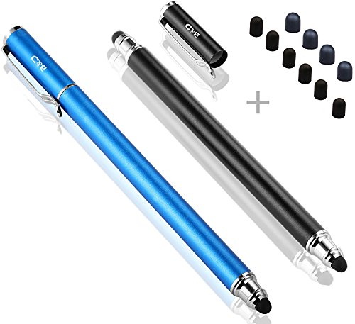Bargains Depot (2 Pcs) [New Upgraded][0.18-inch Small Tip Series] 2-in-1 Stylus/Styli 5.5-inch L with 10 Replacement Rubber Tips -Black/Blue (Stylus End)