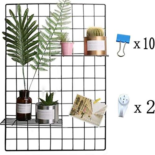 Grid Photo Wall, Pulatree Wire Wall Mesh Display Panel Decorative Iron Rack Clip Photograph Wall Hanging Picture Wall, Ins Art Display PhotoWall/25.6 x17.7inch (Black)