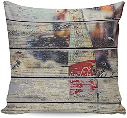 Creative Design Throw Pillow Cover Coke Bottle on Beach Wood Grain for Living Room Sofa Bedroom Square Double Side Cushion Case 16x16inch