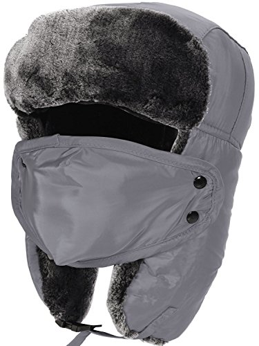 Faux Fur Lined Trapper Hat Winter Weatherproof Aviator Russian Hats,Grey ()