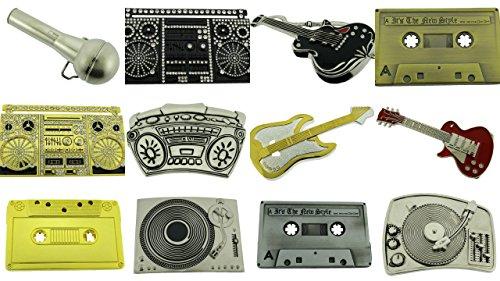 (12 Pieces Wholesale Lot Belt Buckle Guitar Music Cassette Hip Hop Turnt Tables)