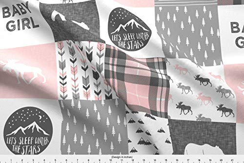 Baby Fabric Fleece - Spoonflower Patchwork Fabric - Patchwork Baby Girl Outdoors Adventure Camping Pink and Grey Trendy - by Littlearrowdesign Printed on Fleece Fabric by The Yard