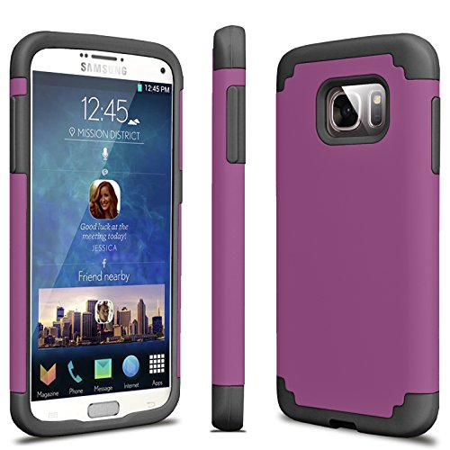 Tekcoo Galaxy S7 Case, [Tbaron Series] [Purple/Black] Shock Absorbing Hybrid Rubber Plastic Impact Defender Rugged Slim Hard Case Cover Shell for Samsung Galaxy S7 S VII G930 GS7 All Carriers