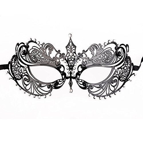 [Masquerade Mask for Women, Black metal rhinestone Laser Cut Mask for Masquerade Ball] (Masquerade Masks Metal)