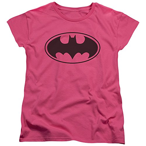 Batman Womens Shirt (Batman Symbol Women's Pink T-Shirt- Classic)