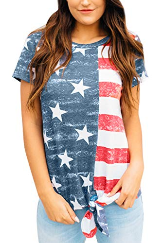 July 4th Women Loose Casual Summer T Shirt American Flag USA Tie Front Short Sleeve Top Star & Stripe