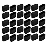 uxcell 30pcs Furniture Desk Chair Foot Oval Plastic Tip Cap Fit for 34mmx14.5mm Leg Black