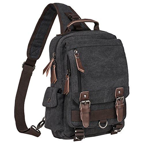 HIKA Vintage Cross Body Messenger Bag Sling Bag Shoulder Pack,Backpack Travel Rucksack-Black