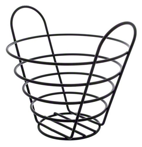 American Metalcraft BWB750 Round Wire Basket with Handles, 7 by 5-Inch, Black ()