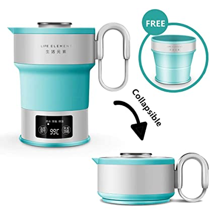 Foldable Electric Kettle 600ML Folding Kettle With Folding Water Cup And Carrying Bag Boiler Drying Protection LED Digital Display And Dual Voltage