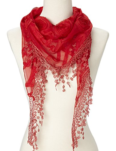 (Flower Lace Silk-blend Scarf / Triangle with Fringe Scarf (Red Floral))