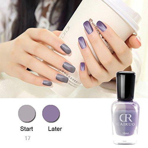 JIEPING 1 Bottle 16ml Chameleon Nail Polish Gel Color Changed With Sunlight or UV LED Light17# Gray-Purple