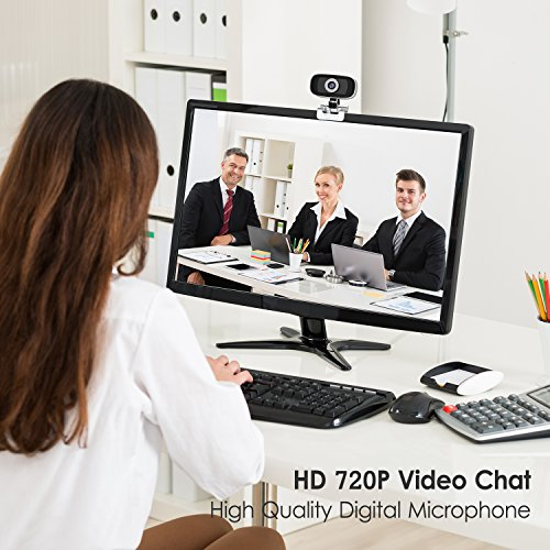 GUCEE HD96 720P HD Webcam with Tripod Ready Base (Tripod Not Included), Web Camera HD Microphone Wide Angle USB Plug and Play, Widescreen Calling Recording for Skype, Win 7 / 8 / 10, Apple Mac OS X by iRush (Image #3)